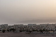 An overview of Awabe, Jordan. The Sahara Forest Project on the outskirts of Aqaba, on Jordan's southern Red Sea coastline. The farm uses desalinated sea water and greenhouses to sustainably farm crops in land that was once aris desert.