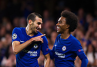 Chelsea's Davide Zappacosta celebrates scoring his side's second goal with Willian <br /> <br /> Photographer Ashley Western/CameraSport<br /> <br /> UEFA Champions League - Chelsea v FK Qarabag - Tuesday 12th September 2017 - Stamford Bridge - London<br />  <br /> World Copyright © 2017 CameraSport. All rights reserved. 43 Linden Ave. Countesthorpe. Leicester. England. LE8 5PG - Tel: +44 (0) 116 277 4147 - admin@camerasport.com - www.camerasport.com