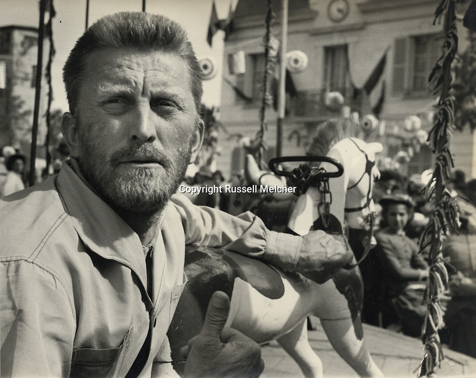 """Paris 1955. Kirk Douglas in the film """"Lust for Life"""". The film was directed by Vincent Minnelli. Kirk Douglas was nominated for Best Actor but did not win!<br /> This scene is in the french town of Auvers sur Oise, where Vincent Van Gogh committed suicide. Both him and his brother were buried there.<br /> <br /> <br /> Paris 1955. Kirk Douglas dans le film """" Lust for Life """". Le film a été réalisé par Vincent Minnelli. Kirk Douglas a été nominé pour meilleur acteur, mais n'a pas gagné !<br /> Cette scène est dans la ville française d'Auvers sur Oise, où Vincent Van Gogh s' es suicide . Lui et son frère ont été enterré là."""