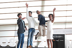 23.09.2015, Madrid, San Sebastian, ESP, San Sebastian International Film Festival, im Bild (L-R) Actors Hector Medina, Maykol David Tortolo, Jazz Vila and Yordanka Ariosa pose during `El rey de la Habana´ film presentation // during the San Sebastian International Film Festival in Madrid in San Sebastian, Spain on 2015/09/23. EXPA Pictures © 2015, PhotoCredit: EXPA/ Alterphotos/ Victor Blanco<br /> <br /> *****ATTENTION - OUT of ESP, SUI*****
