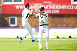 Hilton Cartwright of Middlesex celebrates taking the wicket of Alex Hughes of Derbyshire - Mandatory by-line: Robbie Stephenson/JMP - 20/04/2018 - CRICKET - The 3aaa County Ground  - Derby, England - Derbyshire CCC v Middlesex CCC - Specsavers County Championship Division Two