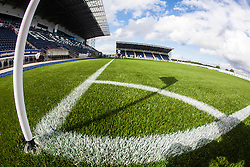 The corner flag at The Falkirk Stadium, with the new pitch work for the Scottish Championship game v Morton. The woven GreenFields MX synthetic turf and the surface has been specifically designed for football with 50mm tufts compared with the longer 65mm which has been used for mixed football and rugby uses.  It is fully FFA two star compliant and conforms to rules laid out by the SPL and SFL.<br /> ©Michael Schofield.