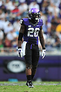FORT WORTH, TX - SEPTEMBER 13:  Derrick Kindred #26 of the TCU Horned Frogs lines up against the Minnesota Golden Gophers on September 13, 2014 at Amon G. Carter Stadium in Fort Worth, Texas.  (Photo by Cooper Neill/Getty Images) *** Local Caption *** Derrick Kindred
