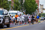 Wilkes-Barre, PA (July 11, 2020) -- Police stopped traffic to allow marchers with Black Lives Matter NEPA United Movement to safely get to Public Square.