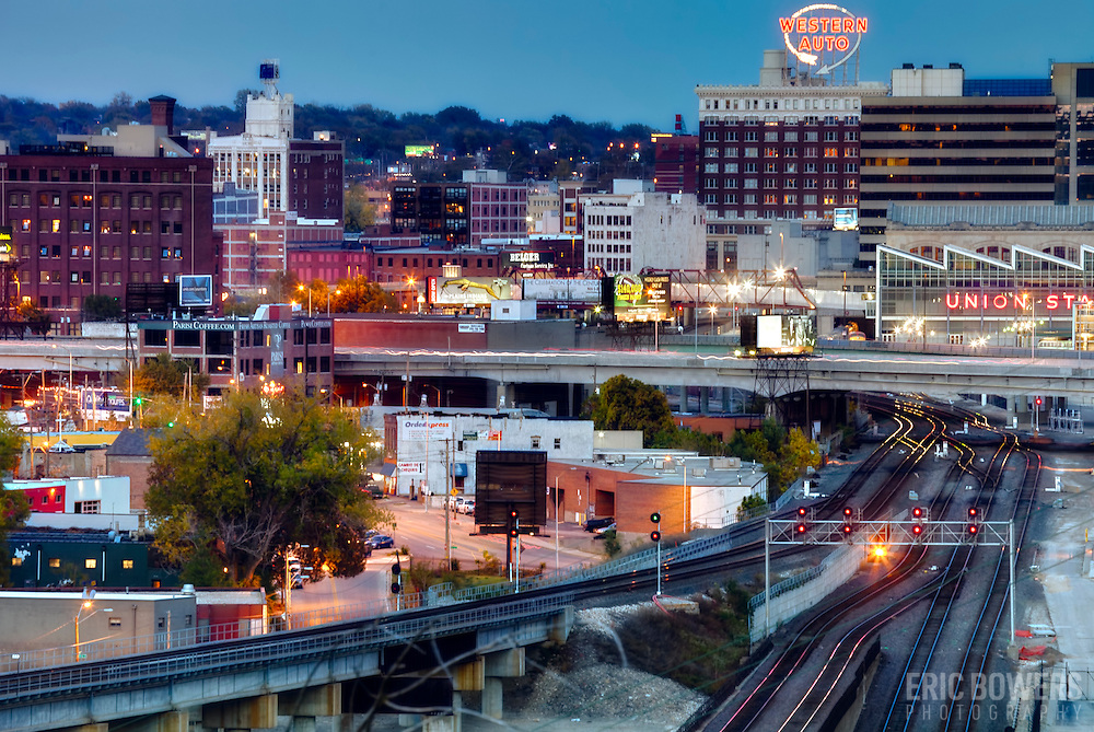 Kansas City MO Crossroads District area and railroads in evening.
