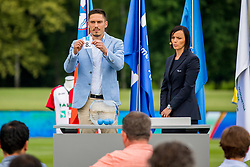 Miran Burgic and Renata Podviz Ceferin during official draw for Slovenian first football league for season 2018-2019, on June 21, 2018 in Nacionalni nogometni center Brdo pri Kranju, Kranj, Slovenia. Photo by Ziga Zupan / Sportida