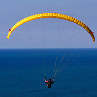 USA, California, San Diego. Solo Paraglider at Torrey Pines.