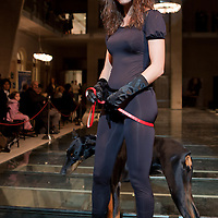 Model presents collections during a dog fashion show on the Luxury Brands Exhibition presenting the highest quality products to the interested public in Budapest, Hungary on November 16, 2007. ATTILA VOLGYI