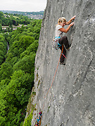 Hazel Findlay leading Flaky Wall, E4 6a, High Tor, Matlock, Peak District