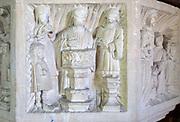 Church of All Saints, Great Glemham, Suffolk, England, UK - Seven Sacrament font depicting baptism