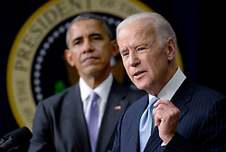 """File photo dated December 13, 2016 of Vice-President Joe Biden speaks as President Barack Obama looks on before signing the 21st Century Cures Act, in Washington, DC, USA. Former President Barack Obama endorsed Joe Biden, his two-term vice president, on Tuesday morning in the race for the White House. """"Choosing Joe to be my vice president was one of the best decisions I ever made, and he became a close friend. And I believe Joe has all the qualities we need in a president right now,"""" Obama said in a video posted to Twitter. Photo by Olivier Douliery/ABACA"""
