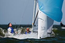 Medemblik - the Netherlands, May 29th 2009. Delta Lloyd Regatta in Medemblik (27/31 May 2009). Day 3. Tara Pacheco & Berta Betanzos taking a nose dive (ESP 696).