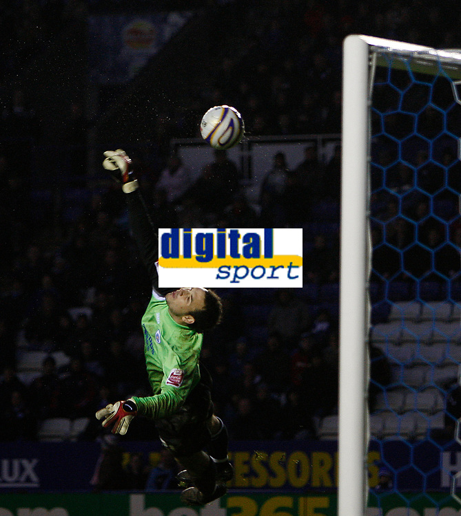 Photo: Steve Bond/Sportsbeat Images.<br /> Leicester City v West Bromwich Albion. Coca Cola Championship. 08/12/2007. Despite his despairing dive keeper Marton Fulop is beaten by sub Craig Beattie's long range curling shot for West Brom's winner