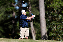Pat Narduzzi tees off during the Chick-fil-A Peach Bowl Challenge at the Oconee Golf Course at Reynolds Plantation, Sunday, May 1, 2018, in Greensboro, Georgia. (Paul Abell via Abell Images for Chick-fil-A Peach Bowl Challenge)
