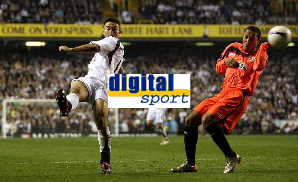 Photo: Paul Thomas.<br /> Tottenham Hotspur v Sevilla. UEFA Cup. Quarter Final, 2nd Leg. 12/04/2007.<br /> <br /> Steed Malbranque (L) of Spurs kicks past Adriano.