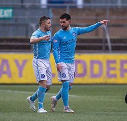 Forfar Athletic's Dylan Easton (right) cele scoring their second goal. half time : Forfar Athletic 3 v 0 East Fife, Scottish Football League Division One game played 2/3/2019 at Forfar Athletic's home ground, Station Park, Forfar.