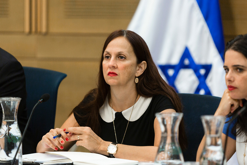 Deputy Attorney-General Dina Zilber (C) at the Knesset, Israel's parliament in Jerusalem, on October 6, 2014.