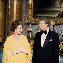 The Queen with American President Jimmy Carter at a State Dinner at Buckingham Palace