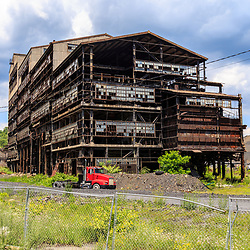 Mahanoy City, PA - June 22, 2016: A deteriorating  coal breaker built and used to process anthracite.