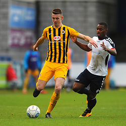 TELFORD COPYRIGHT MIKE SHERIDAN 10/11/2018 - Andre Brown of AFC Telford closes down James Jones of Boston during the Vanarama Conference North fixture between AFC Telford United and Boston United.