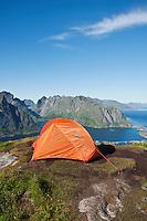 Scenic view from wild mountain campsite on Reinebringen peak, Reine, Lofoten islands, Norway