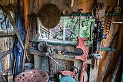 Toolshed. Fort Nelson Heritage Museum, 5553 Alaska Highway, Fort Nelson, British Columbia, Canada. This quirky museum features a highway construction display, pioneer artifacts, trapper's cabin, vintage autos & machinery, a white moose, and more.
