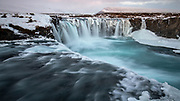 The Goðafoss waterfall in northern Iceland in winter