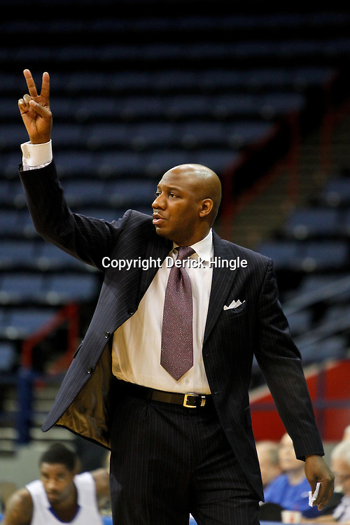 November 27, 2011; New Orleans, LA; Alcorn State Braves head coach Luther Riley against the New Orleans Privateers during the second half of a game at the Lakefront Arena. New Orleans defeated Alcorn St. 63-56. Mandatory Credit: Derick E. Hingle-US PRESSWIRE