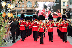 The Coldstream Guards band attending the world premiere of Goodbye Christopher Robin at the Odeon in Leicester Square, London. See PA story SHOWBIZ Goodbye. Picture Date: Wednesday 20 September. Photo credit should read: Ian West/PA Wire