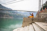 Sadhuji at the Ganga next to Lakshmi Jhula