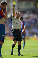 Referee Keith Stroud gives a yellow card to Leandro Bacuna of Aston Villa for time wasting. Barclays Premier league match, Crystal Palace v Aston Villa at Selhurst Park in London on Saturday 22nd August 2015.<br /> pic by John Patrick Fletcher, Andrew Orchard sports photography.
