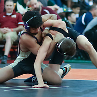 Akhil Vega of Cupertino defeats Markie Murabito of Los Gatos in the 2018 SCVAL Wrestling Finals (113 lb Finals)(Photo by Bill Gerth)