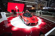 Geneva Motorshow 2013 - LaFerrari being unveiled by key members of Ferrari.