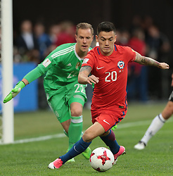 July 2, 2017 - Saint Petersburg, Russia - Marc-Andre Ter Stegen (L) of the Germany national football team and Charles Aranguiz of the Chile national football team vie for the ball during the 2017 FIFA Confederations Cup final match between Chile and Germany at Saint Petersburg Stadium on July 02, 2017 in St. Petersburg, Russia. (Credit Image: © Igor Russak/NurPhoto via ZUMA Press)