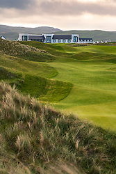 View of Machrie Golf Links golf course and hotel on Islay. In Inner Hebrides, Scotland, UK