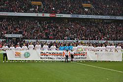 21.03.2015, RheinEnergieStadion, Köln, GER, 1. FBL, 1. FC Köln vs SV Werder Bremen, 26. Runde, im Bild Kampagne gegen Diskrimnierung // during the German Bundesliga 26th round match between 1. FC Cologne and SV Werder Bremen at the RheinEnergieStadion in Köln, Germany on 2015/03/21. EXPA Pictures © 2015, PhotoCredit: EXPA/ Eibner-Pressefoto/ Schüler<br /> <br /> *****ATTENTION - OUT of GER*****