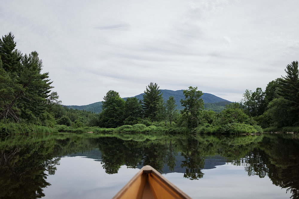 Evening view of the Ausable River on Lake Everest in the Adirondack Park of New York