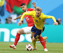 July 3, 2018 - Saint Petersburg, Russia - Blerim Dzemaili (L) of Switzerland vies with Emil Forsberg of Sweden during the 2018 FIFA World Cup round of 16 match between Switzerland and Sweden in Saint Petersburg, Russia, July 3, 2018. (Credit Image: © Xu Zijian/Xinhua via ZUMA Wire)