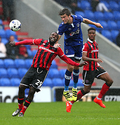 Cameron Burgess of Oldham Athletic challenges Sylvain Ebanks-Blake  - Mandatory by-line: Matt McNulty/JMP - 03/09/2016 - FOOTBALL - Sportsdirect.com Park - Oldham, England - Oldham Athletic v Shrewsbury Town - Sky Bet League One