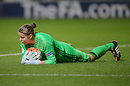 Justien Odeurs (GK) (Belgium) makes a save during the Euro 2017 qualifier between England Ladies and Belgium Ladies at the New York Stadium, Rotherham, England on 8 April 2016. Photo by Mark P Doherty.