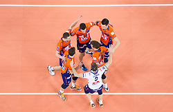 Players of ACH during volleyball match between ACH Volley Ljubljana and Bre Banca Lannutti Cuneo (ITA) in Playoff 12 game of CEV Champions League 2012/13 on January 15, 2013 in Arena Stozice, Ljubljana, Slovenia. (Photo By Vid Ponikvar / Sportida.com)