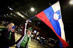 Fans at reception of Slovenia team arrived from Winter Olympic Games Sochi 2014 on February 24, 2014 at Airport Joze Pucnik, Brnik, Slovenia. Photo by Vid Ponikvar / Sportida