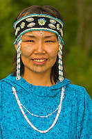 Yupik woman in native costume at the Alaska Native Heritage Center, Anchorage, Alaska
