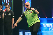 Michael van Gerwen celebrates hitting a double during the PDC Unibet Premier League darts at Marshall Arena, Milton Keynes, United Kingdom on 28 May 2021.