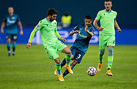 SAINT PETERSBURG, RUSSIA - NOVEMBER 04: Franceso Acerbi of SS Lazio and Douglas Santos of Zenit St Petersburg during the UEFA Champions League Group F stage match between Zenit St. Petersburg and SS Lazio at Gazprom Arena on November 4, 2020 in Saint Petersburg, Russia. (Photo by MB Media)