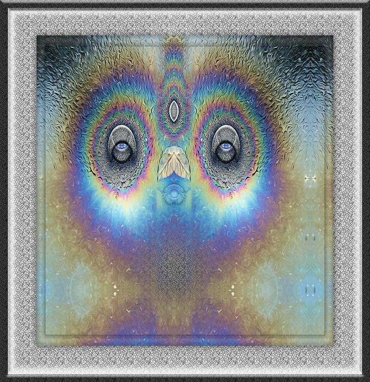 """Sleepy Owl"", derivative image created from a photo of an oil design on wet asphalt, December, Port Angeles, WA, USA"