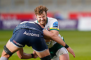 London Irish Fullback James Stokes runs into a tackle during a Gallagher Premiership Round 14 Rugby Union match, Sunday, Mar 21, 2021, in Eccles, United Kingdom. (Steve Flynn/Image of Sport)
