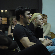 "Dancer and event producer Solomon Singer, center, laughs during a rehearsal for ""A Show Unlike Anything on Broadway!"" at Stepping Out Studios in Manhattan on May 2, 2007 in preparation for the 5 Boro Dance Challenge...The locally produced 5 Boro Dance Challenge, New York City's first same-sex dance competition, was held at the Park Central Hotel in Manhattan from May 4-6, 2007. ..The show was the entertainment presented in addition to the competition. ..With Singer are, from left, dancer Jorge Guzman, dancer and event producer (and Singer's life partner) Richard McMurrich, McMurrich's country western opposite sex dance partner Suzanne Mosley, Singer's opposite sex country western dance partner Nell Mooney and dance instructor/show participant/judge Simone Assboeck...Mooney and Mosley volunteered as participants in the show as a favor to their dance partners. ..."