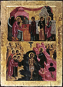 Episodes in the life of Christ. Presentation at the Temple, top, and Baptism by St John the Baptist, bottom.   16th century Icon from the Cretan School.   Religion Christian Sacrament