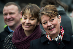 © Licensed to London News Pictures. 26/02/2016. London, UK. Green Part  MP CAROLINE LUCAS (centre) and leader of Plaid Cymru LEANNE WOOD attend a CND (Campaign for Nuclear Disarmament) rally in central London on February 27, 2016. Corbyn has been criticised for publicly supporting the CND campaign while Labour Party policy  backs the renewal of Trident nuclear programme. Photo credit: Ben Cawthra/LNP